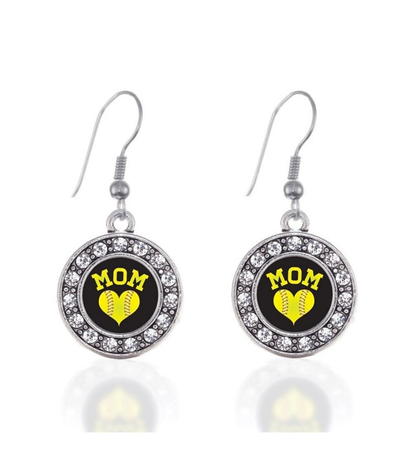 Softball Mom Circle Charm Earrings French Hook Clear Crystal Rhinestones - CK124BUUFER