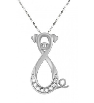 14k Gold Over Sterling Silver White Natural Diamond Pig Infinity Pendant Necklace (0.1 Ct) - CX12NRUGXJU