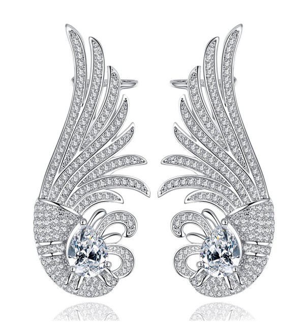 18k White Gold Plated Feather Cubic Zirconia Stud Earrings - C2182HLOX3O