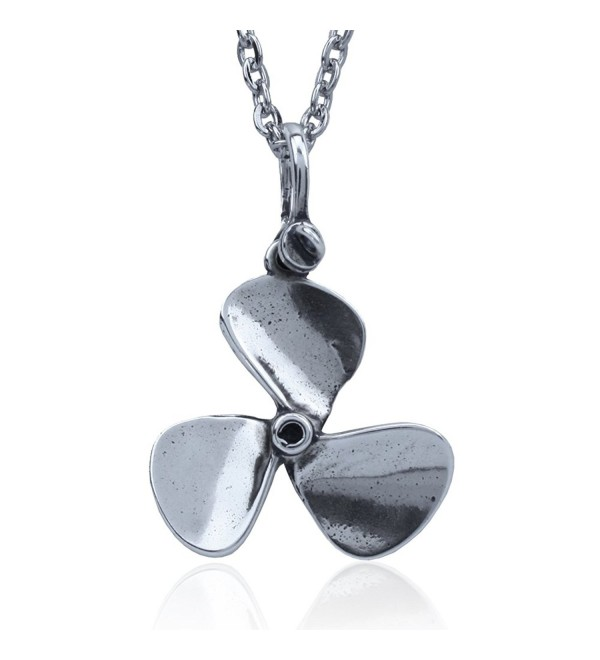 Boat Propeller Pendant Crafted in Sterling Silver By Jewelry Artist- J. Nautora. 18 Inch Necklace Chain - CT11IROEIOR