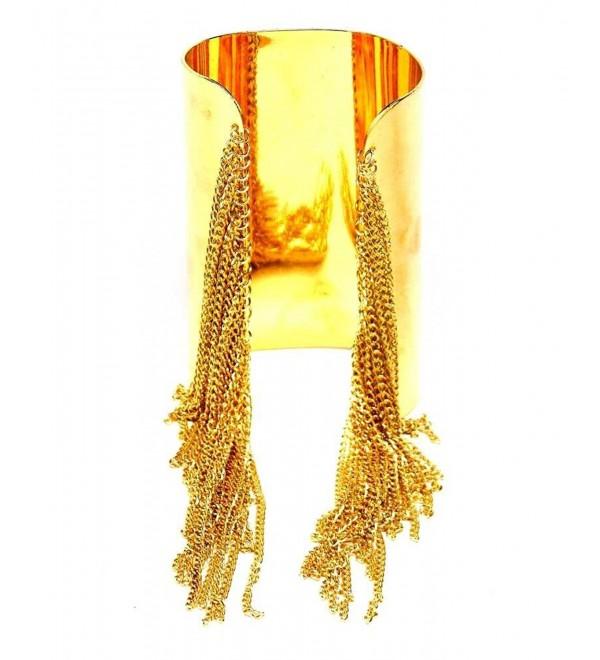 Lux Accessories Metal Fringe Cuff Bracelet - CQ11HP8K93Z