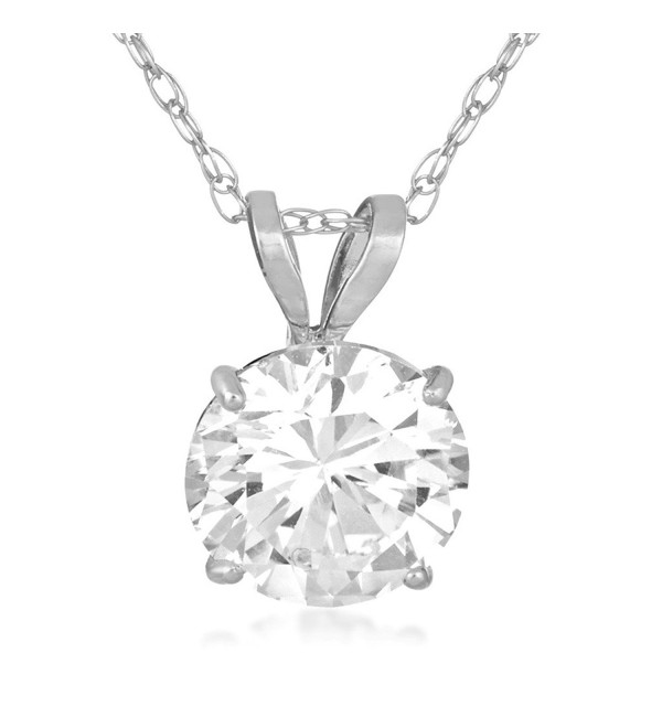 "Jewelili 10KT White Gold Swarovski Zirconia Solitaire Pendant Necklace- 18"" - CC17YZ2WMY0"