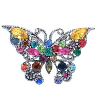 Alilang Silvery Tone Rainbow Multi Colored Rhinestone Butterfly Insect Bug Wings Brooch Pin - CQ115YFMFF1