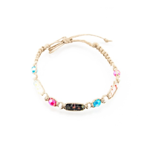 Hemp Anklet Bracelet with Puka Clam Shell Beads- Pink & Blue Beads- and Venetian Murano Glass Tubes - CQ185S79U5M