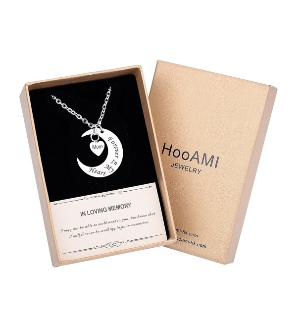 HooAMI Cremation Jewelry Moon Heart Urn Necklace Memorial Ash Keepsake - Mom-Luxury Box - CB18545U4X0