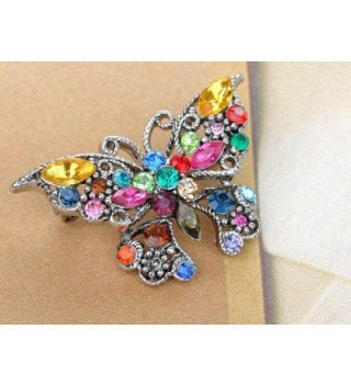 Alilang Silvery Rainbow Rhinestone Butterfly