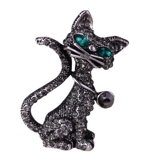 YACQ Jewelry Women's Crystal Cat Pin Brooch Halloween Gifts - Dark - CE12GH2UA0P
