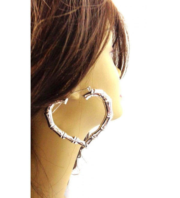 Heart Hoop Earrings Solid Bamboo Earrings Gold or Silver Tone 3 Inch Hoops - CA12CA6S1DF
