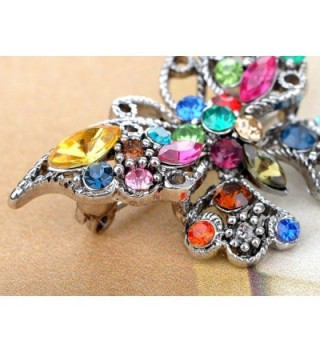 4e32012f8 Silvery Tone Rainbow Multi Colored Rhinestone Butterfly Insect Bug ...