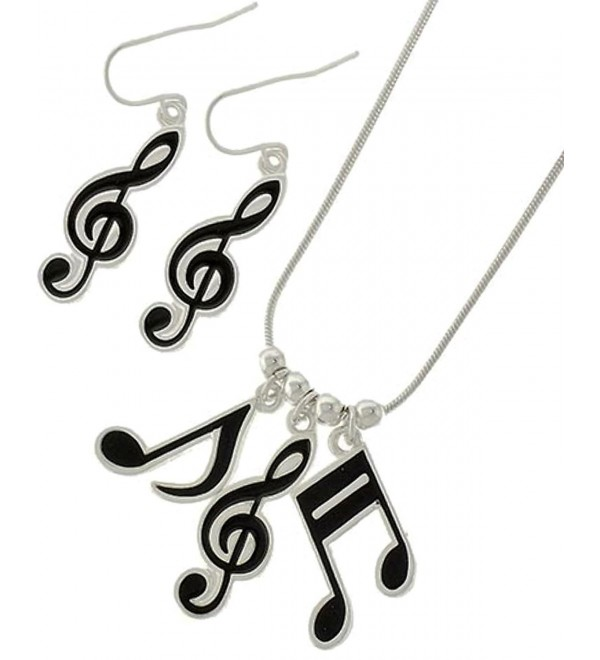 Music Note Necklace Earrings Set C35 Black Silver Tone - CZ128DKRH97