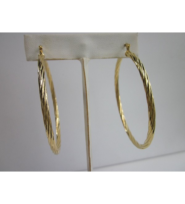 18 Karat Gold Plated 1 1/2 Inch Twisted Hoop Earring - CT12BG5TEXD