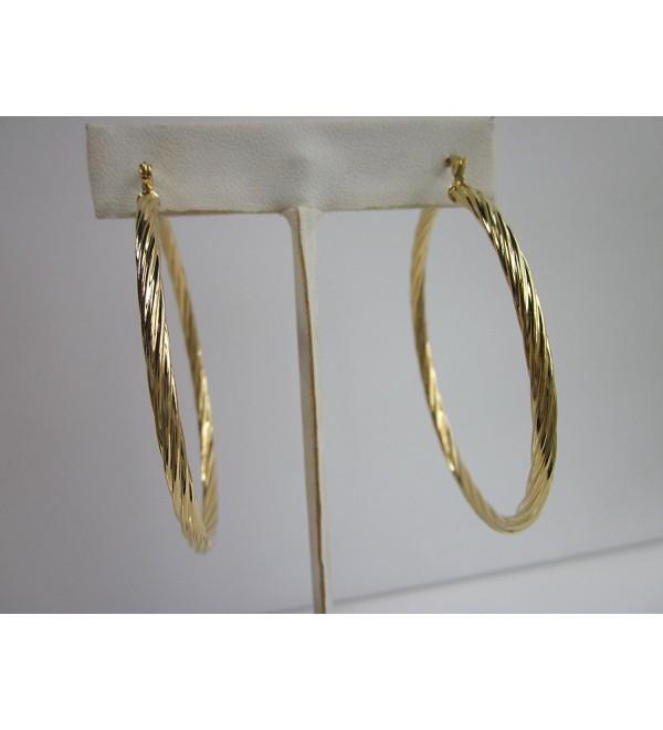 18 Karat Gold Plated 1 1/2 Inch Twisted Hoop Earring - CT12BG5TEXD