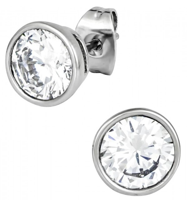 2.5 cctw Stainless Steel CZ Crystal 7 mm Round Bezel Set Stud Earrings - CI11VEN6KXP