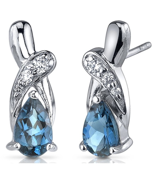 London Blue Topaz Earrings Sterling Silver Rhodium Nickel Finish 2.00 Carats Pear Shape CZ Accent - C6116NSDY6R