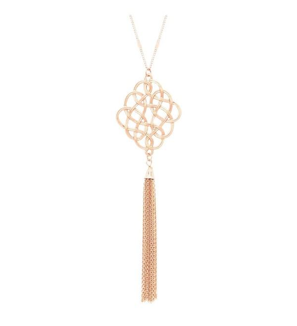 Rosemarie Collections Women's Celtic Knot Tassel Long Pendant Necklace - Light Rose Gold - CO183R6GQR9