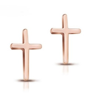 14K Rose Gold Plated Stainless Steel Stud Earrings- A Pair Cross Tiny 12mm Stud Earrings RE026 - CJ12N296T9Q