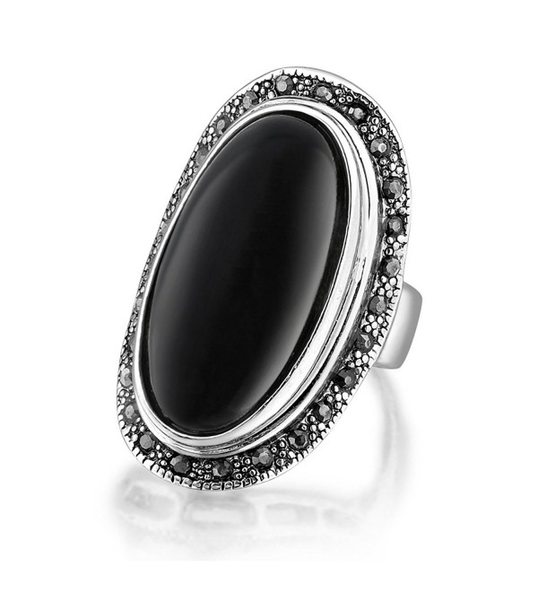 Dnswez Oval Black Onyx Marcasite Stones Silver Oxidized Big Statement Cocktail Rings for Women Men - C512EQFH4L9