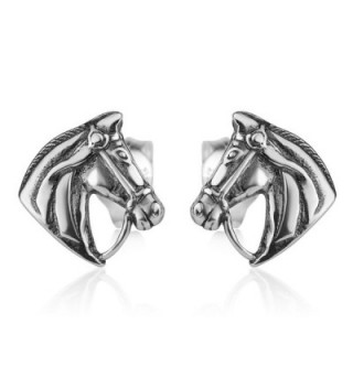 925 Oxidized Sterling Silver Vintage Tiny Horse Head Pony Equestrian Post Stud Earrings 9 mm - CR12NVUVI3U