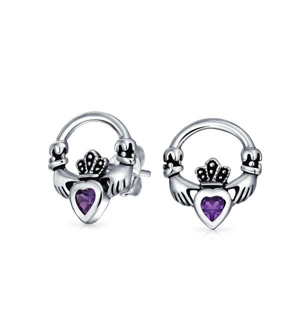 Bling Jewelry Simulated Alexandrite June Birthstone Heart Claddagh CZ Stud earrings 925 Sterling Silver 12mm - C711F9J7A83