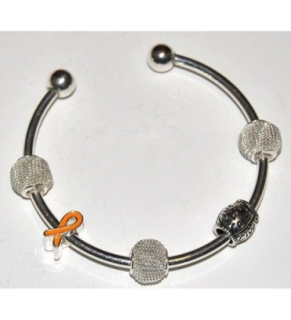 Orange Ribbon Awareness Silver Cuff Bracelet with Live Love Laugh Charm - CW11BPFXRMJ