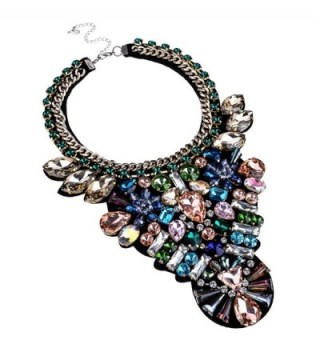 Bling Fashion Handmade Gems Clear Tawny Glass Beads Statement Pendant Necklace - Colorfull 2 - CT11S1RN8E1