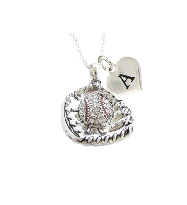Custom Crystal Baseball Glove Ball Silver Chain Necklace Choose Initial Charm - C112N1WIFD8