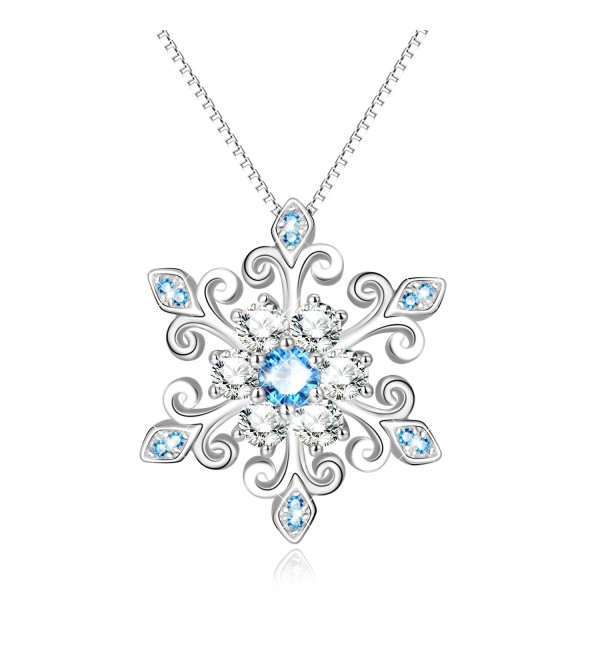 925 Sterling Silver Fleur De Lis Blue and White Snowflake Pendant Necklace-Gift for Her - C01883S44IM