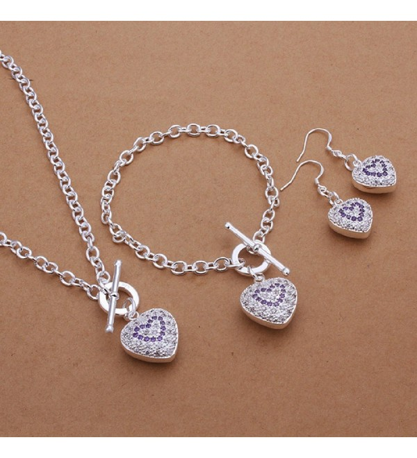 CY-Buity European Style Ring Necklace Carved Patterns Love Heart Pendants 925 Silver Plated Jewelry Set - CL11IWUXMSJ