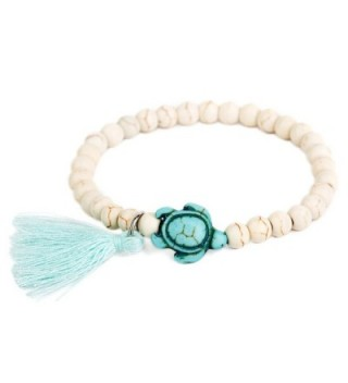 ISHOW Handmade Turquoise Turtle Charm Beads Adjustable Bracelet with Tassel - CL12DGWCCBP