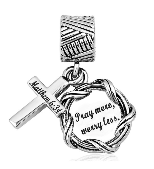 "Roy Lopez Bible ""Pray more worry less charm""Christian Cross Charm Bead For Bracelets - CS188KUXIOK"