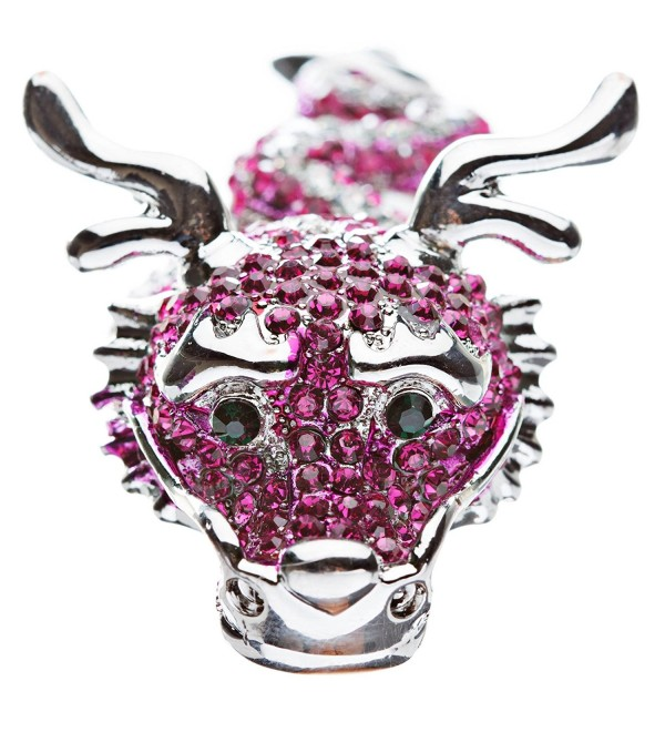 Dragon Fuchsia Pink Clear Crystals Silver Animal Stretch Adjustable Fashion Ring - C7118VMO1QF