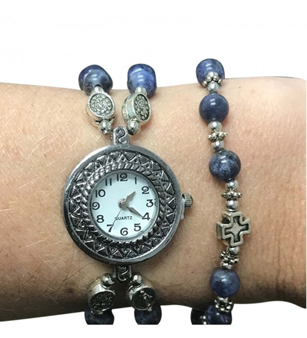 Marble Prayer Bead Rosary Watch and Bracelet Set- One Size - Blue - CB188H9YXR9