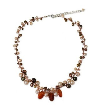 NOVICA Carnelian Cultured Freshwater Pearls Sterling Silver Plated Beaded Necklace 'Cinnamon Rose' - C011G3W0OBV