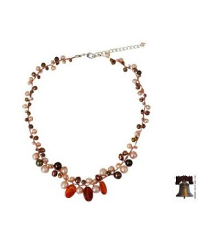 NOVICA Carnelian Cultured Freshwater Sterling in Women's Pearl Strand Necklaces