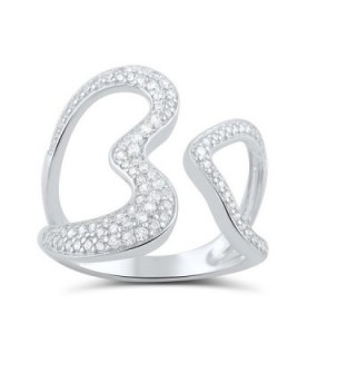 Sterling Silver Simulated Diamond Open Heart Statement Ring (Size 4 - 9) - CN12CNVAKF9
