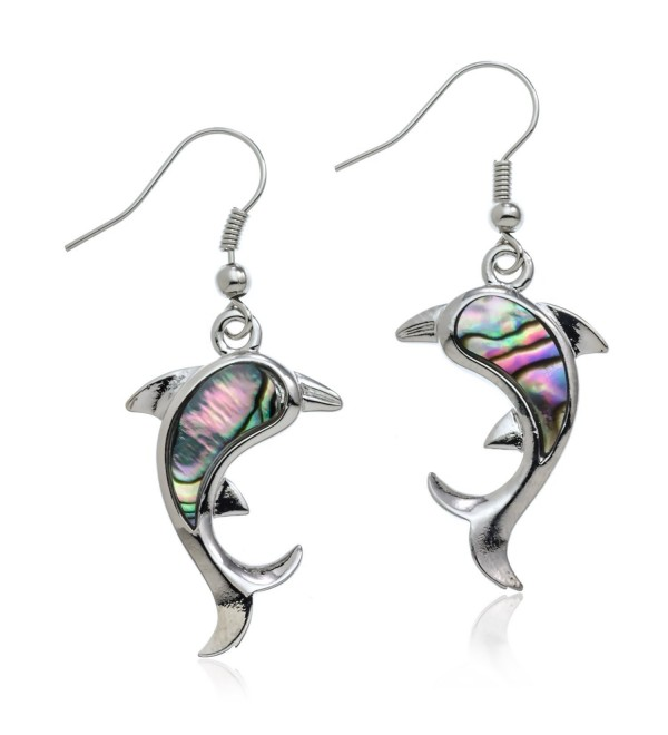 PammyJ Silvertone Abalone Dolphin Dangle Earrings - CP11P7CN3TX