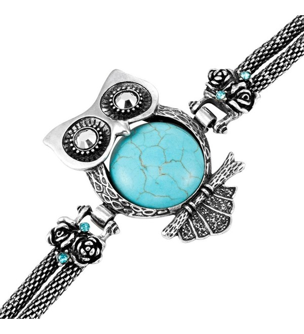 Stunning Owl Tibet synthetic-turquoise Cuff Bracelet Owl Vintage Jewelry - CU11K36M2RR