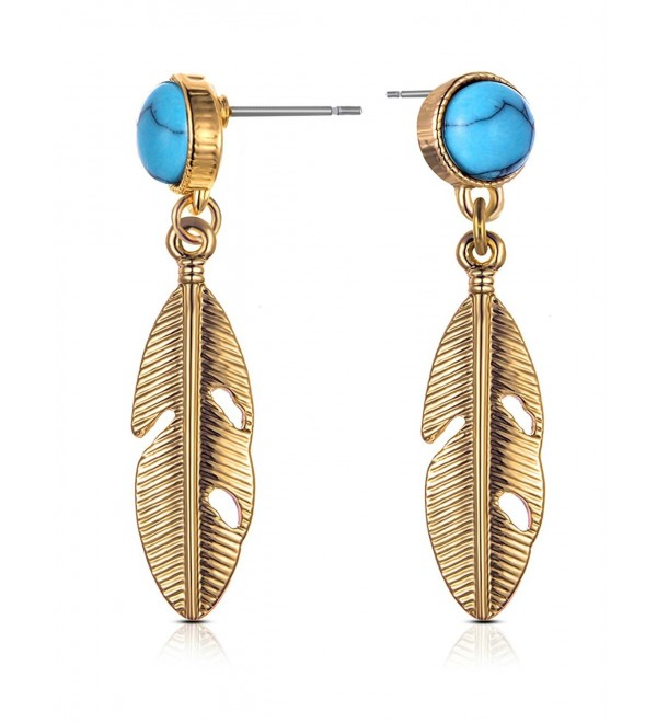 XZP Earrings Metallic Feather Calaite - Pale Gold with Calaite - CT180KHG5KY