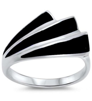 New Simulated Black Onyx Design .925 Sterling Silver Ring Size 8 - CE1263016KP
