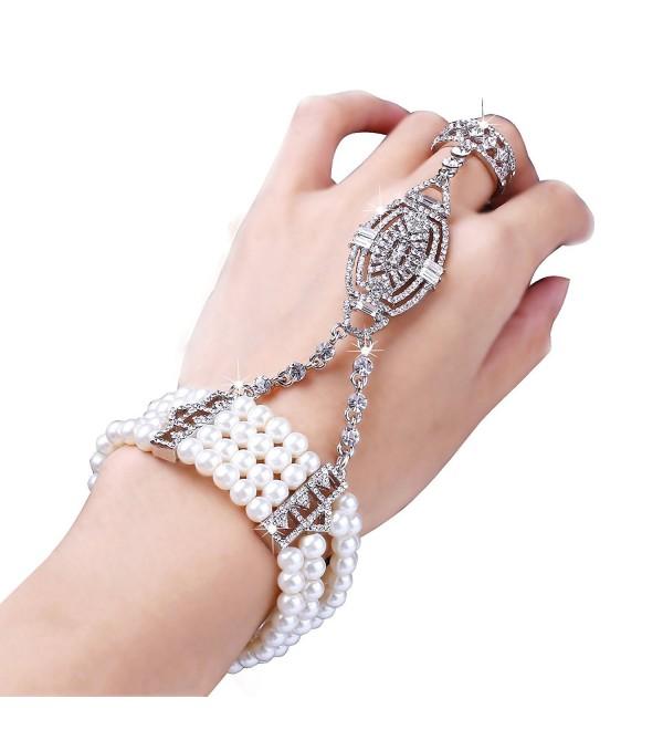 BABEYOND 1920s Flapper Bracelet Ring Set Austrian Crystals Imitation Pearl - C1127J1S9QB
