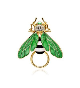 SENFAI Honey Bees Insect Wings Charm Bumble Bee Eyeglass Holder Brooch - Gold - C71822GSSO5