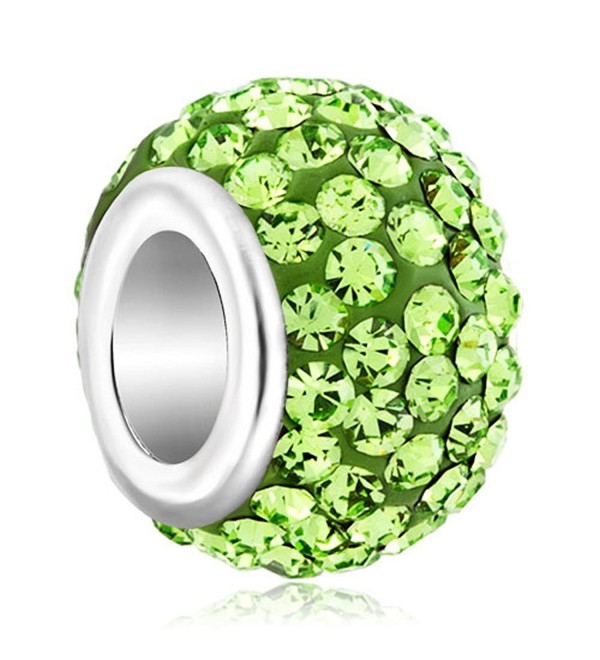 LovelyJewelry Aug Birthstone Green Swarovski Element Crystal Charms Bead For Bracelet - CY11RB3VG4Z