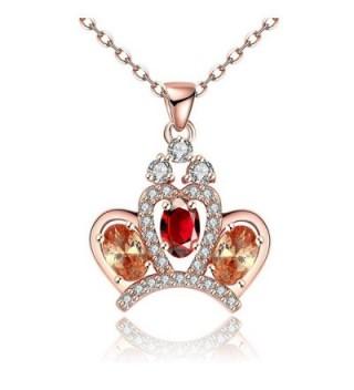 Mealove *Princess Crown* Czech Drill Crystal Pendant Necklace - CC12K15UMRL