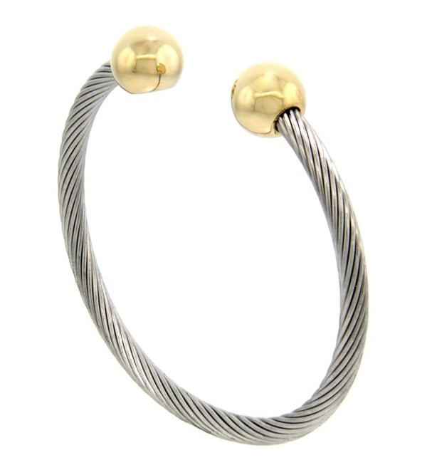Stainless Steel Cable Golf Bracelet for Women Gold-tone Bio Magnetic Ball Ends - 7 inch - CW1169EZOR7