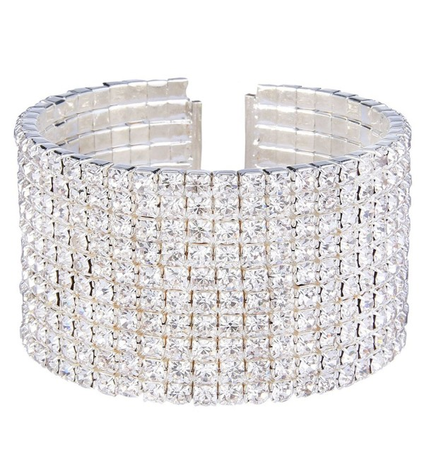EleQueen Women's Silver-tone Austian Crystal Open End Wide Elegant Party Cuff Bangle Bracelet Clear - C2123WRHWMD