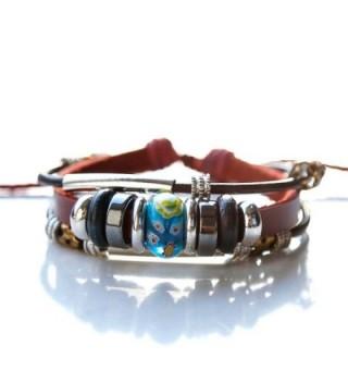 Men's Handmade Tribal Beads Braided Leather Cuffs Wrap Bracelet - blue - CU12O35TLV4