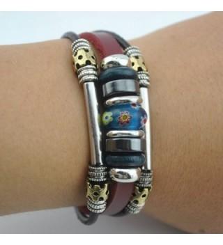 Handmade Tribal Genuine Leather Bracelet in Women's Strand Bracelets