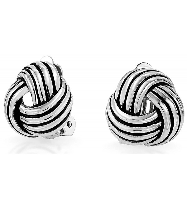 Bling Jewelry Love Knot Woven Clip On Earrings Antique Style Rhodium Plated Brass - CJ11PRHGIXB