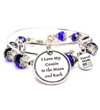 I Love My Cousin To The Moon And Back Collection Crystal Bangle Set in Sapphire Blue - C011VX5H6KP
