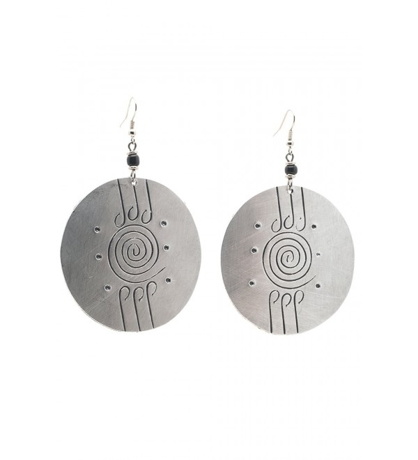 Maisha Fair Trade Trendy Hand Hammered Large Silver Color Medallion Earrings with tiny glass black beads - C711DE1EWXF